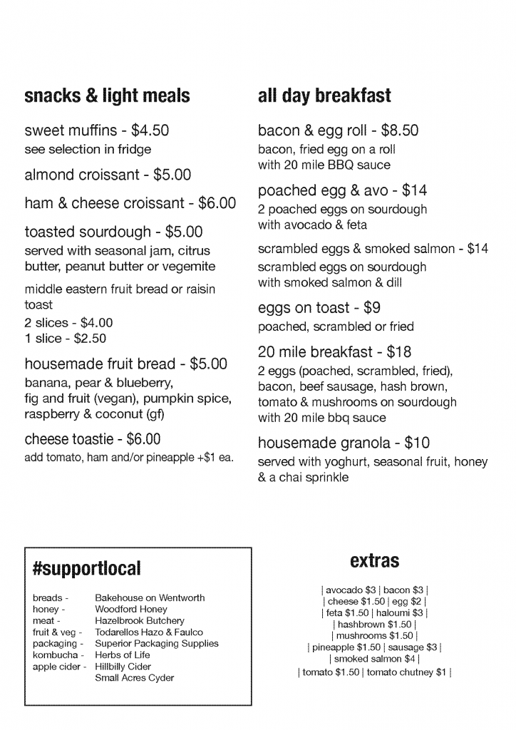 breakfast and snack menu for 20 Mile Hollow in Woodford