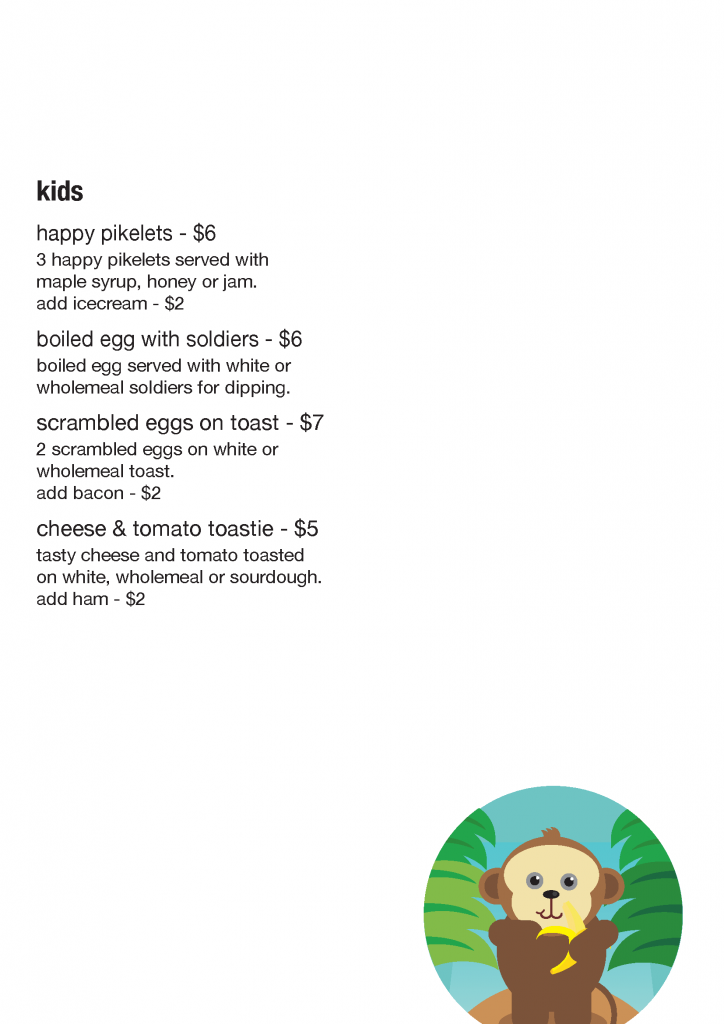 Kids menu for 20 Mile Hollow Woodford