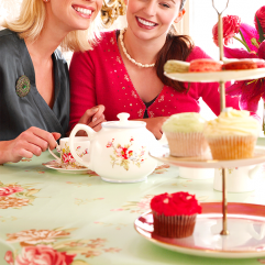 two ladies enjoying high tea