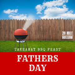 picture of a bbq on a sunny day with text saying takeaway bbq feast fathers day