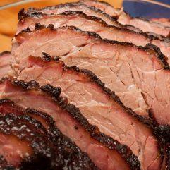 sliced, smoked brisket